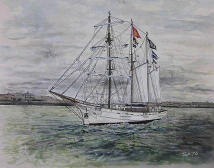 水彩画の帆船画像